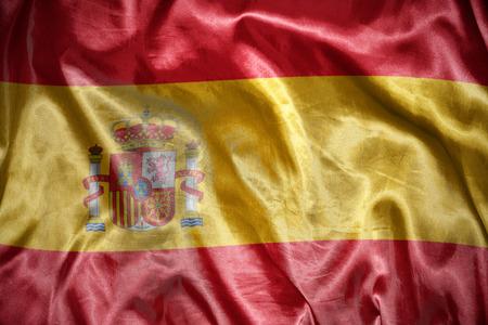 spanish flag: waving and shining spanish flag Stock Photo