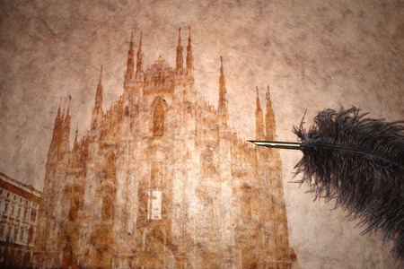 view of duomo, milan on vintage paper with old pen photo
