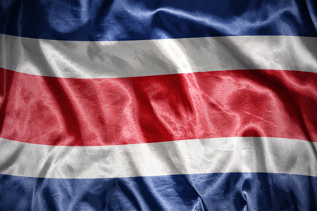 costa rican flag: waving and shining costa rican flag