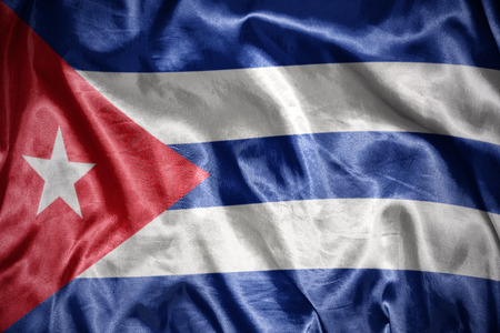 cuban flag: waving and shining cuban flag