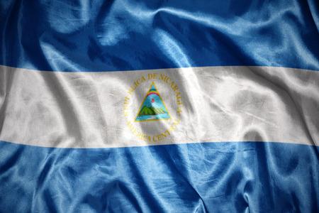 nicaraguan: waving and shining nicaraguan flag Stock Photo