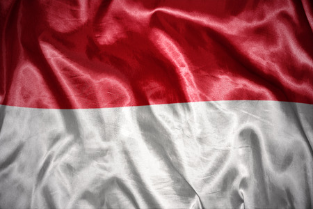 the indonesian flag: waving and shining indonesian flag