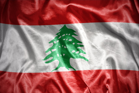 lebanese: waving and shining lebanese flag