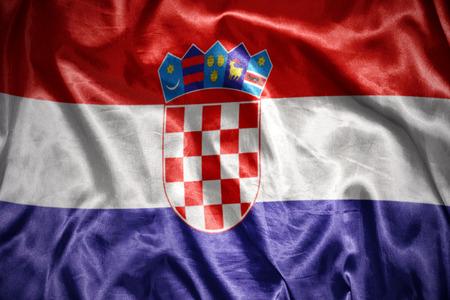 croatian: waving and shining croatian flag