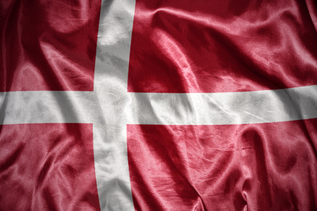 danish flag: waving and shining danish flag Stock Photo