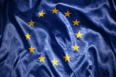european union flag: waving and shining european union flag