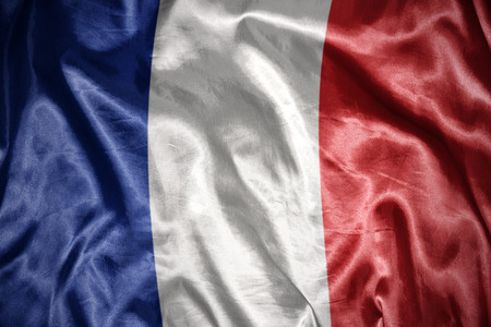 french flag: waving and shining french flag Stock Photo