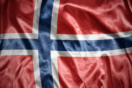 norwegian flag: waving and shining norwegian flag