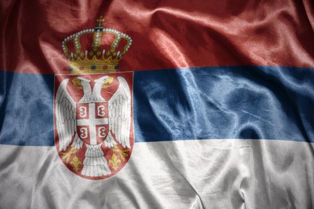serbian: waving and shining serbian flag Stock Photo