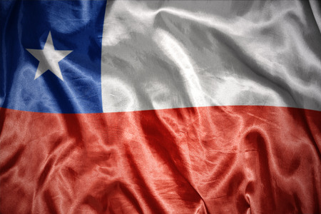 chilean flag: waving and shining chilean flag