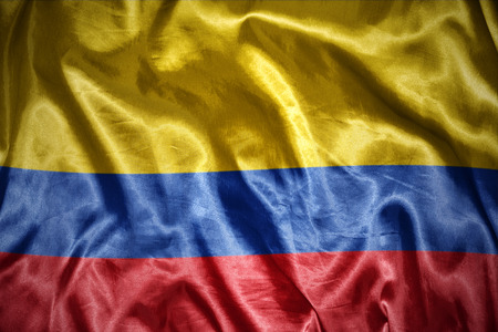 colombian flag: waving and shining colombian flag
