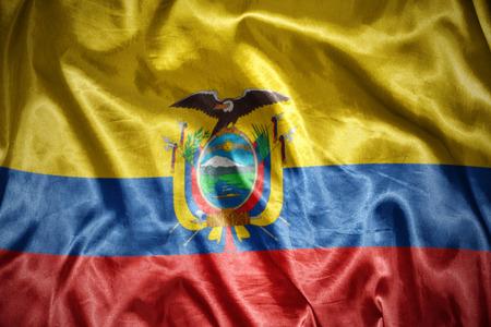 ecuadorian: waving and shining ecuadorian flag Stock Photo