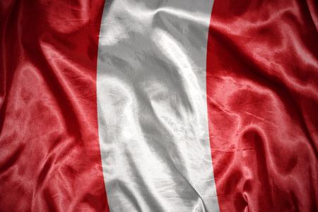 peruvian: waving and shining peruvian flag