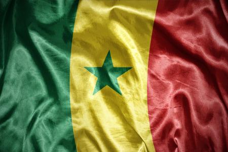 dakar: waving and shining senegalese flag Stock Photo