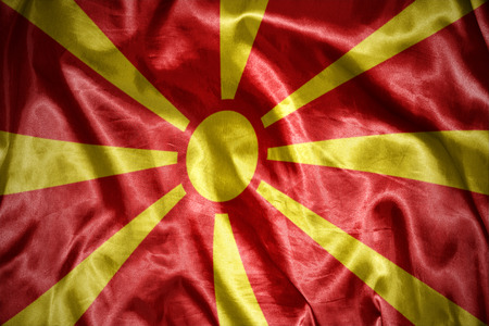 macedonia: waving and shining macedonia flag Stock Photo