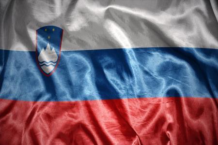 slovenian: waving and shining slovenian flag