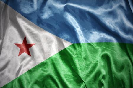 djibouti: waving and shining djibouti flag Stock Photo