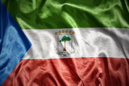 equatorial guinea: waving and shining equatorial guinea flag Stock Photo