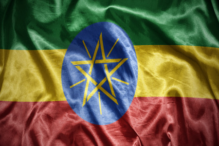 ethiopian: waving and shining ethiopian flag
