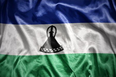 lesotho: waving and shining lesotho flag