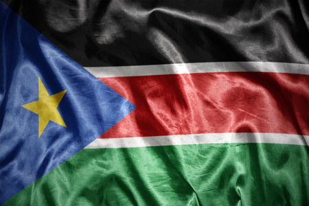 south sudan: waving and shining south sudan flag