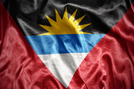 antigua: waving and shining Antigua and Barbuda flag