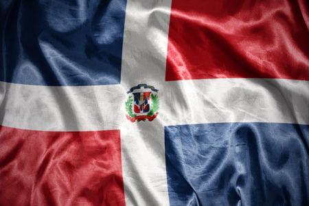 dominican republic: waving and shining dominican republic flag Stock Photo
