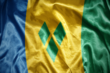 grenadines: waving and shining Saint Vincent and the Grenadines flag