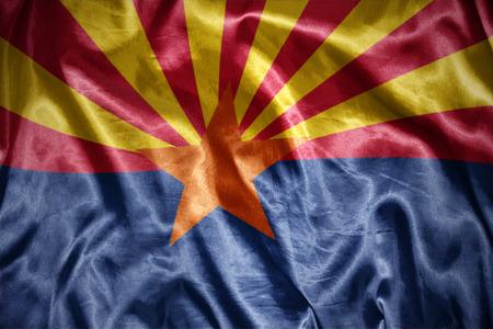 us sizes: waving and shining arizona state flag Stock Photo