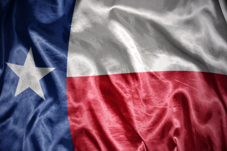 texas state flag: waving and shining texas state flag Stock Photo