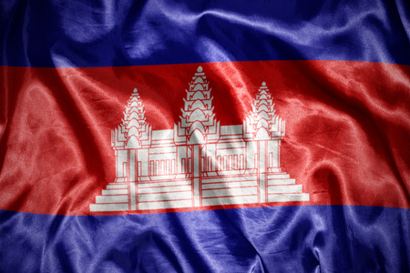 cambodian flag: waving and shining cambodian flag