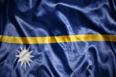 nauru: waving and shining nauru flag Stock Photo