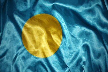 palau: waving and shining palau flag