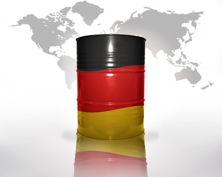 fuel provider: barrel with german flag on the world map background
