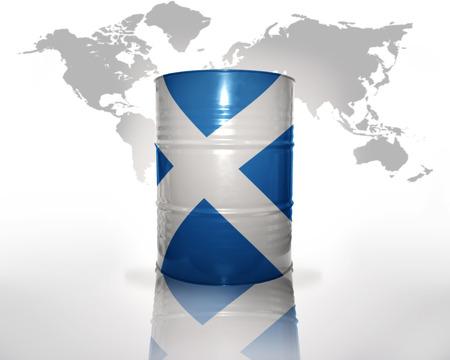 scottish flag: barile con bandiera scozzese sulla mappa del mondo di fondo