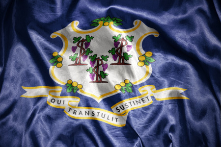 us sizes: waving and shining connecticut state flag Stock Photo