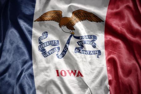 us sizes: waving and shining iowa state flag