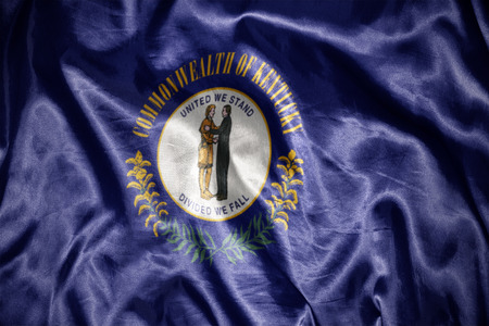 us sizes: waving and shining kentucky state flag Stock Photo