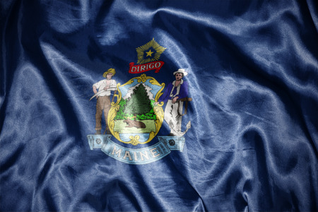 us sizes: waving and shining maine state flag