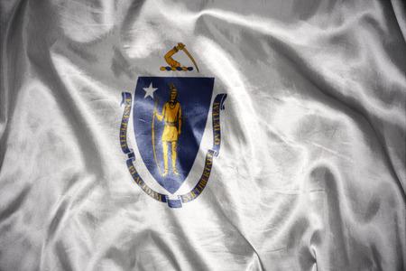 us sizes: waving and shining massachusetts state flag