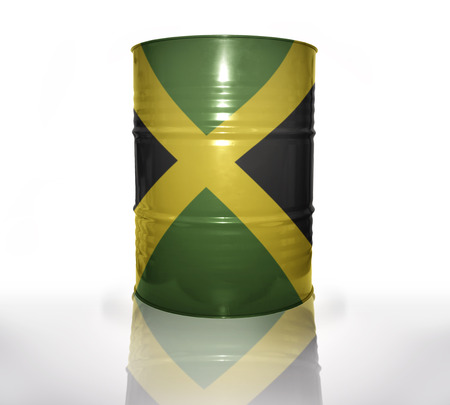 jamaican flag: barrel with jamaican flag on the white background