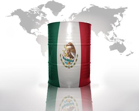 bandera de mexico: barril con bandera mexicana en el mapa del mundo de fondo