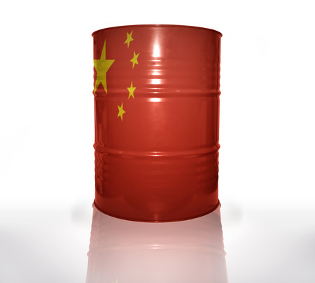 barrel with chinese flag on the white background photo