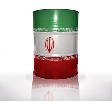 oil money: barrel with iranian flag on the white background Stock Photo