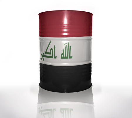iraqi: barrel with iraqi flag on the white background