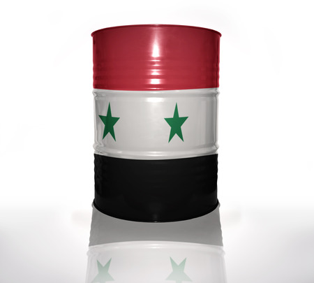syrian: barrel with syrian flag on the white background