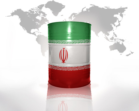 barrel with iranian flag on the world map background