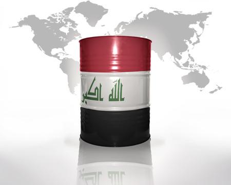 iraqi: barrel with iraqi flag on the world map background