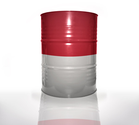 the indonesian flag: barrel with indonesian flag on the white background