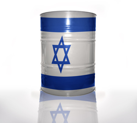 barrel with israeli flag on the white background Stock fotó